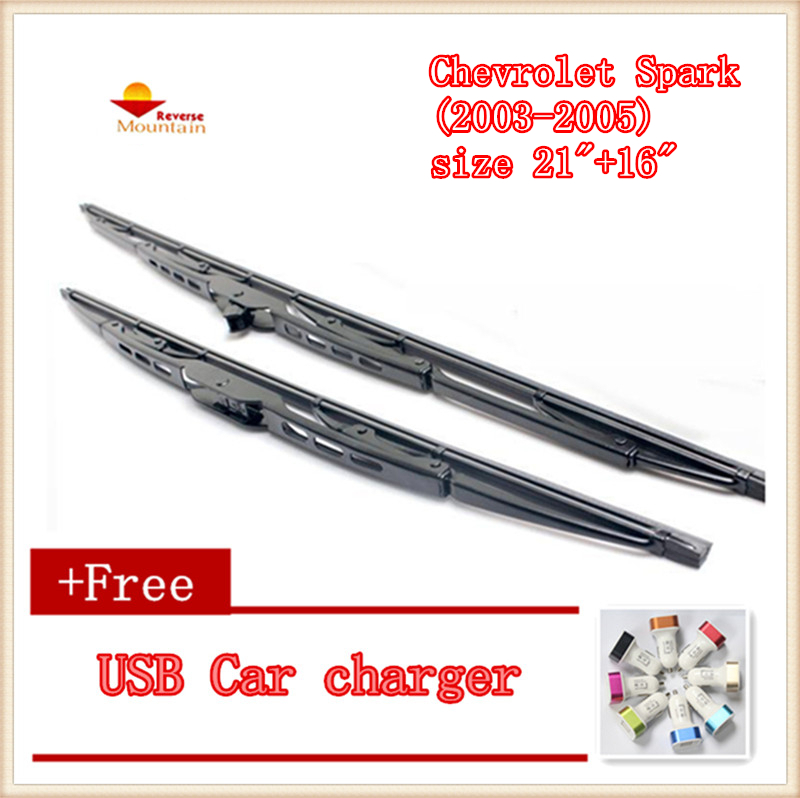 "2pcs/lot Car Windshield Wiper Blade U-type Universal For Chevrolet Spark (2003-2005),size 21""+16"""