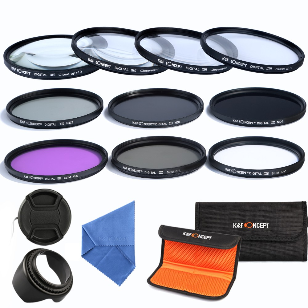 K&F CONCEPT Camera Lens Filter Set 10pcs 58mm UV CPL FLD ND2 4 8+Cap+bag+Lens Hood+Clean Cloth For Canon Nikon d3300 fujifilm 3