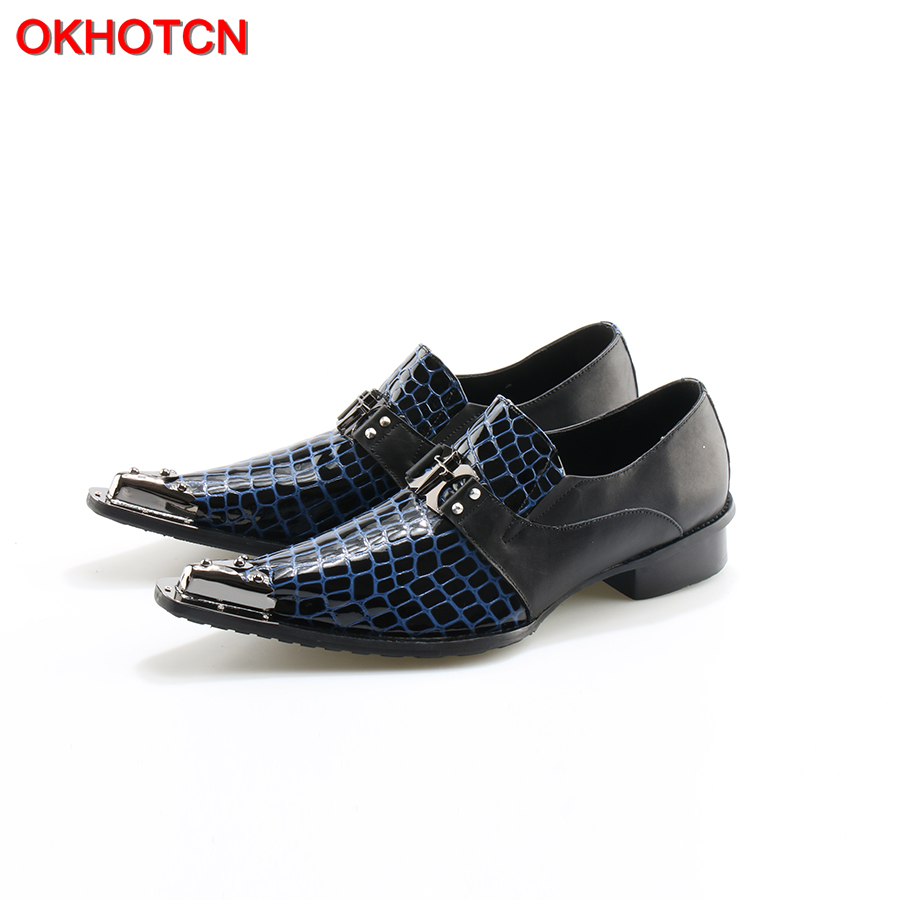 Italian Leather Mens Dress Shoes Striped Metal Pointed Toe Chaussure Homme Luxury Male Formal Party Flats Shoes Big Size 46 zapato oxford azul formal wedding men shoes mens summer dress black pointed shoes chaussure homme new brand men leather flats
