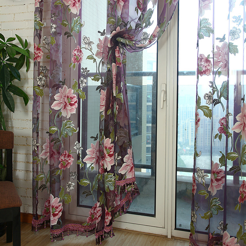 Aliexpress.com : Buy Beautiful Home Decoration Voile Window Curtains Rod Pocket Process Burnout ...