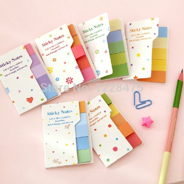 1 Set/lot Rainbow Sticky Notes Multicolor Memo Pad Scrapbooking Stickers Bookmark Office Material School Supplies