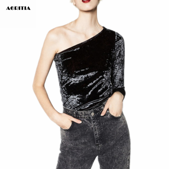2016 Women Long-Sleeve Velour Bodysuits Black Sexy Jumpsuit Playsuits Overalls Women