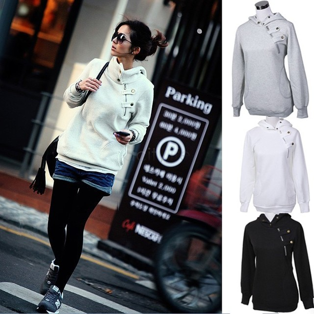 Fashion 2017 Korean Women Hoodies Hoody Winter Casual Sporting Coat Thicken Pullover Girls Hooded Sweatshirt 29