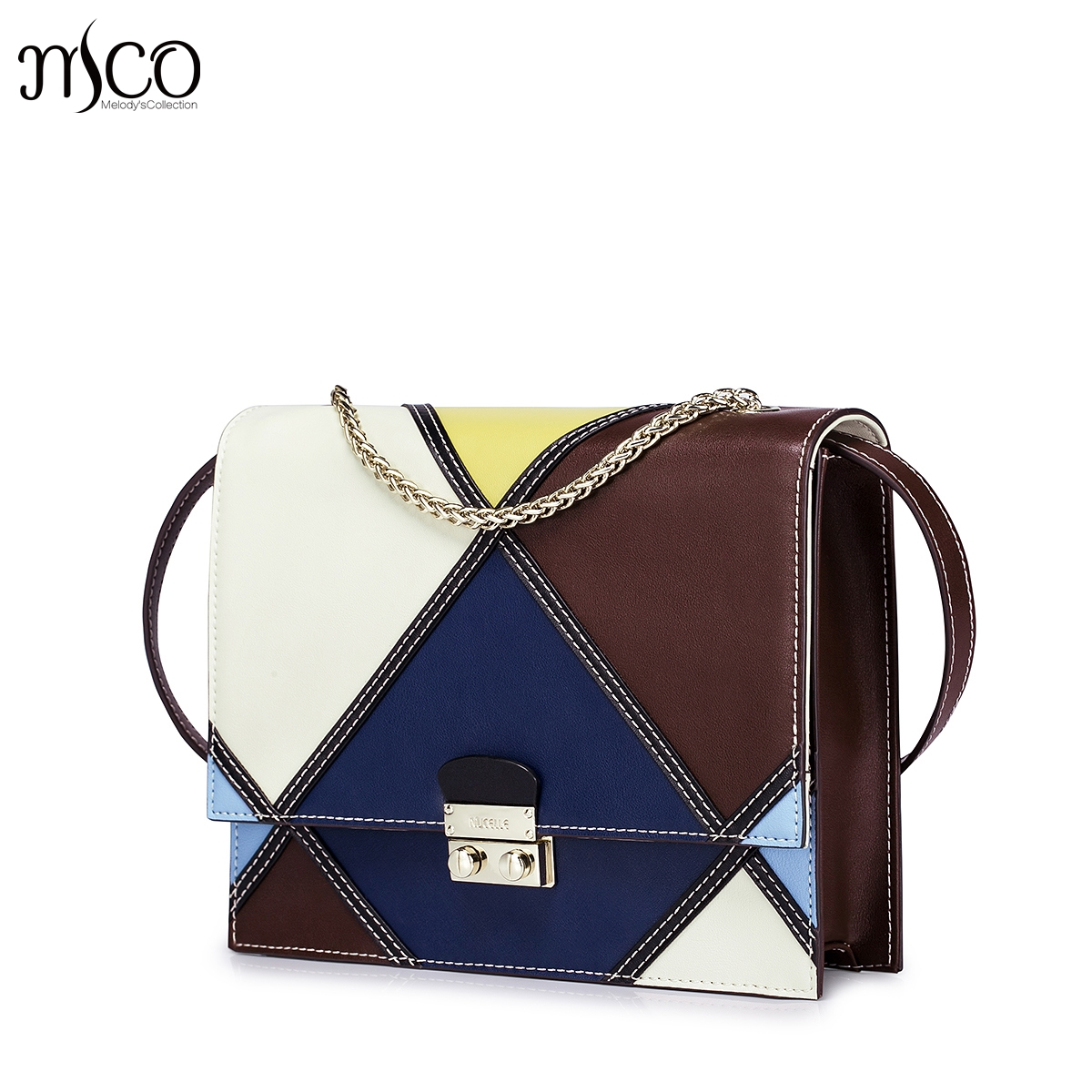ФОТО 2016 Women's New Style Color Block Classic Vintage Chain Small Flap Handbag Cowhide Leather Casual Shoulder Bag Crossbody Purse