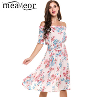 Meaneor Vintage Plated Dress Women Casual Short Sleeve Summer Print Off Shoulder Pullover Tunic Swing Dress