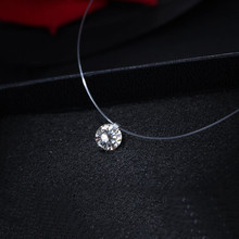 Transparent Female  Fishing Line Necklace  Silver Heart Invisible Chain Crystal Rhinestone Choker Necklace Pendant on Line Neck