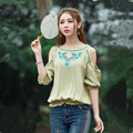 New Korean Spring Summer Sexy Womens Blouses Off Shoulder Blouse Tops Loose Half Sleeve Cotton Embroidered Shirts Plus Size