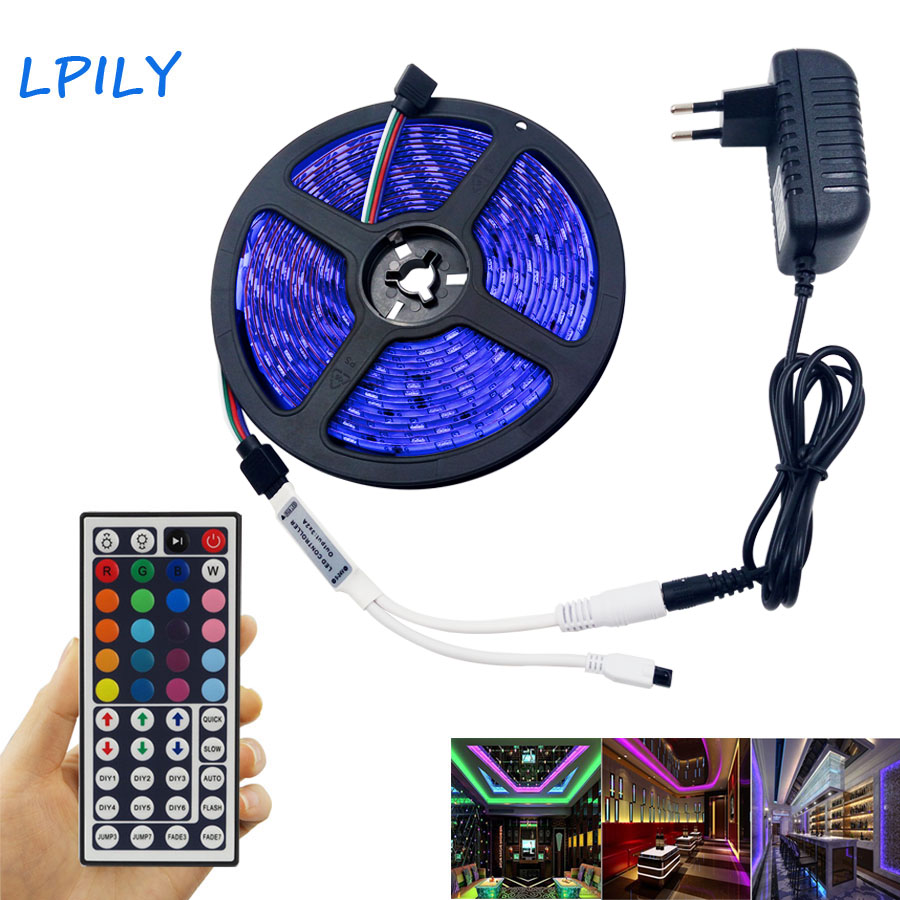 LPILY 4M 5M RGB Led Strip 5050 SMD Waterproof 30 LED/M DC12V LED Light 44 Keys Remote Controller RGB led tape RGB led ribbon rgb led strip 5m 5050 non waterproof flexible light 44 keys ir remote dc12v power adapter high brightness led strip light
