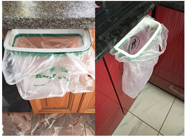 1PC Storage Holder Rack Kitchen Cupboard Cabinet Door Hanging Garbage Rubbish Bag Storage Trash Rack Kitchen Orgnizing OK 0260