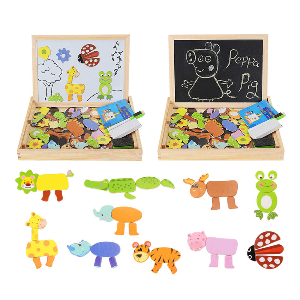 100 PCS Magnetic Puzzle Figura/Animais/Veículo/Circus troupe Bordo Pintura 5 estilos Caixa De Madeira puzzle brinquedo etiqueta do Presente Do bebê