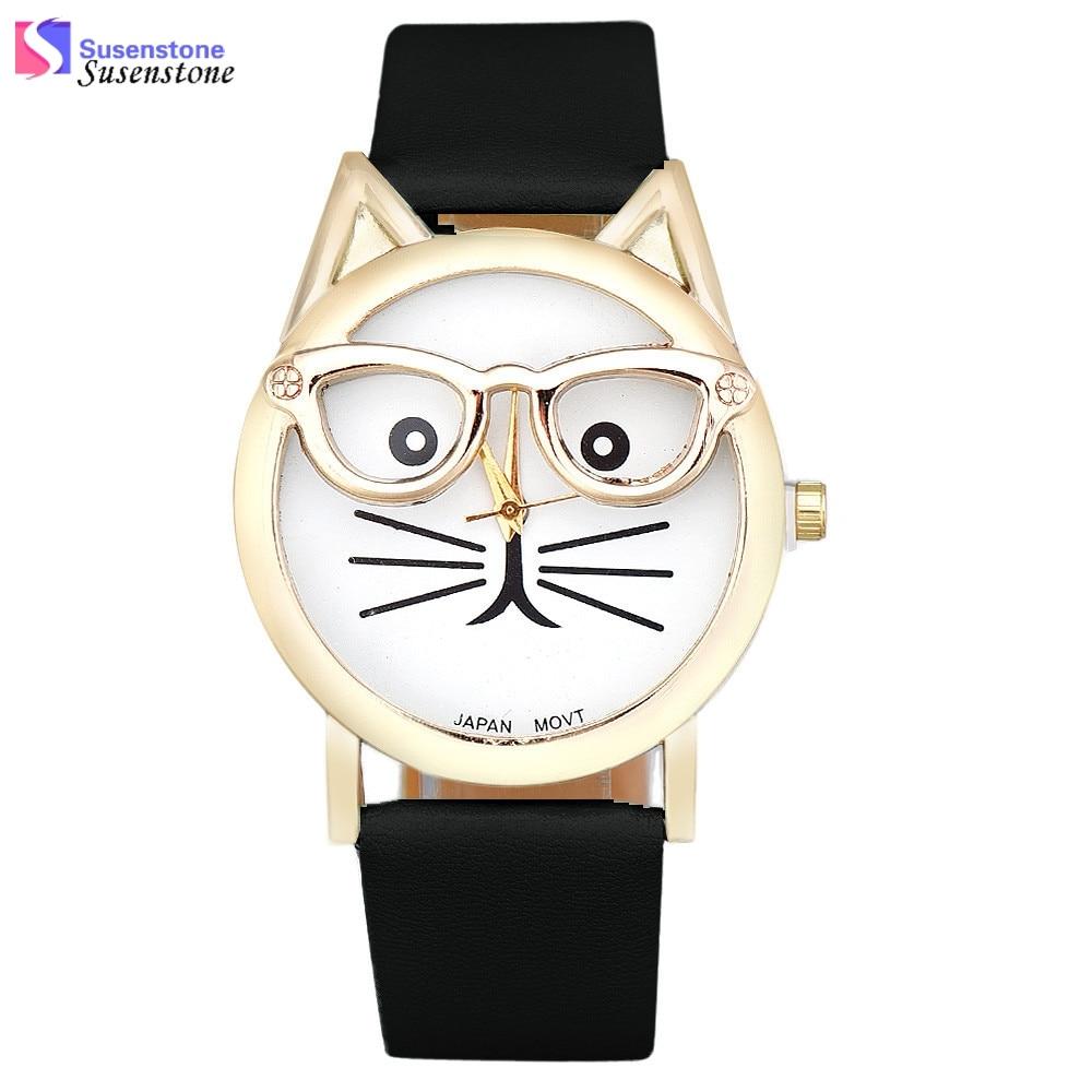 Vogue Cute Cat Cartoon Watch Men Women PU Leather Analog Quartz Watch Ladies Casual Dress Watches Wristwatch Cheap China Product стоимость