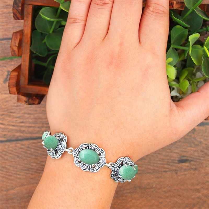 ธรรมชาติ Jades สร้อยข้อมือพลัมดอกไม้ออกแบบ Vintage โบราณ Silver Plated อัญมณีแฟชั่นเครื่องประดับ TB338