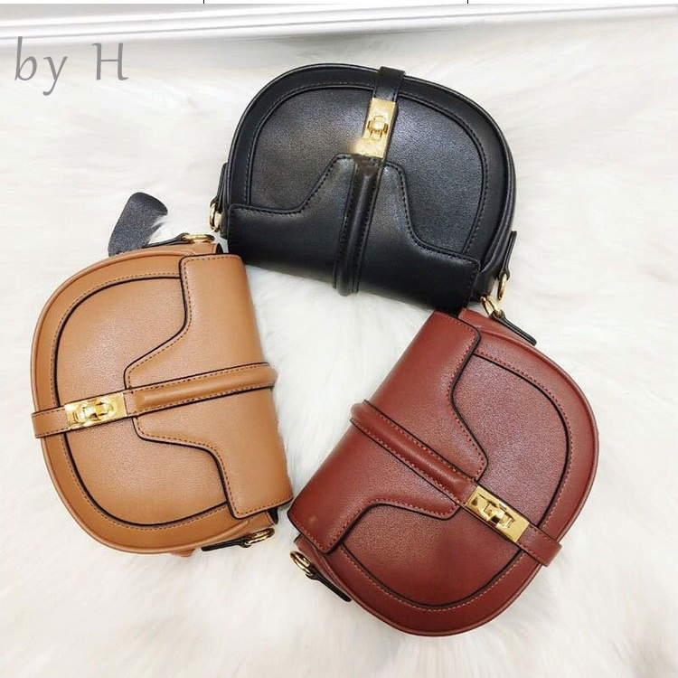 by H genuine leather vintage saddle bag luxury designers womens handbags cross body fashion shoulder bag messenger bags summerby H genuine leather vintage saddle bag luxury designers womens handbags cross body fashion shoulder bag messenger bags summer