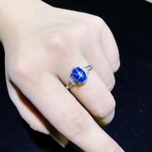 Image 3 - النجوم خاتم من الياقوت الأزرق ، كلاسيك 925 الفضة النقية ستار خط جميل البريد التعبئة
