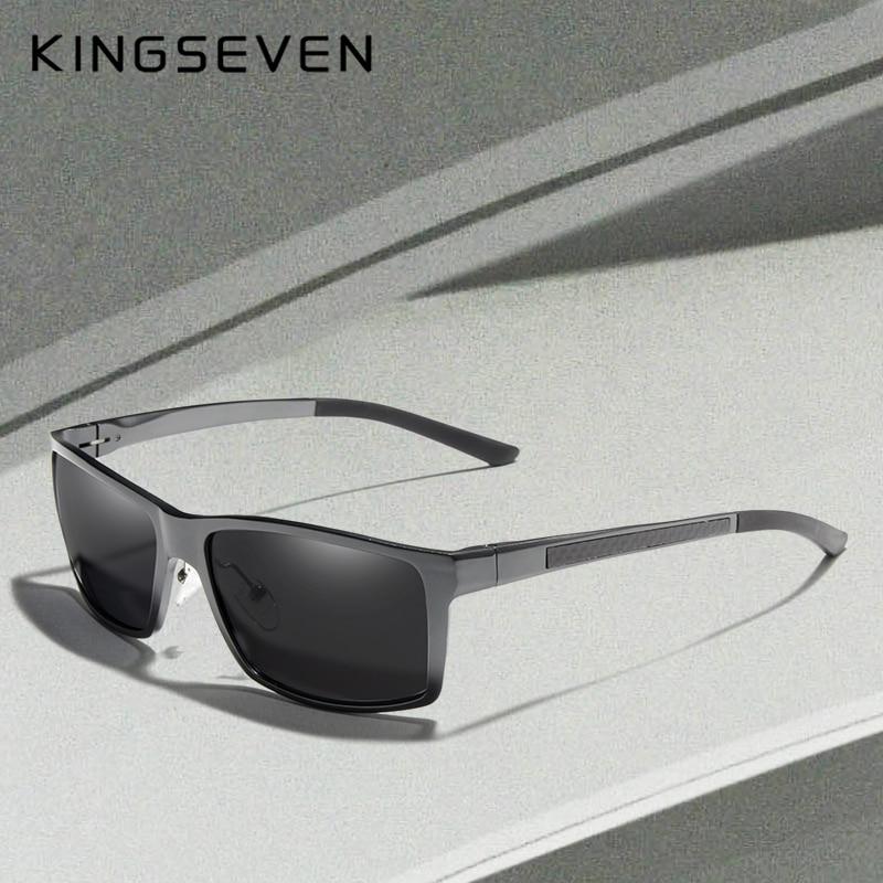 KINGSEVEN New Design Aluminum Magnesium Sunglasses Men Polarized Square Driving Sun Glasses Male Eyewear Accessories For Men
