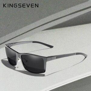Image 1 - KINGSEVEN تصميم جديد الألومنيوم المغنيسيوم النظارات الشمسية الرجال الاستقطاب مربع القيادة نظارات شمسية الذكور نظارات اكسسوارات للرجال
