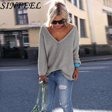 SINFEEL Autumn Winter Spring Sweater Women V-Neck Loose Pullovers Solid Jumper Knitted Basic Casual Sweaters 10 Colors new new autumn winter sexy midriff baring sweaters loose solid knitted pullovers casual deep v neck sweater knitwear