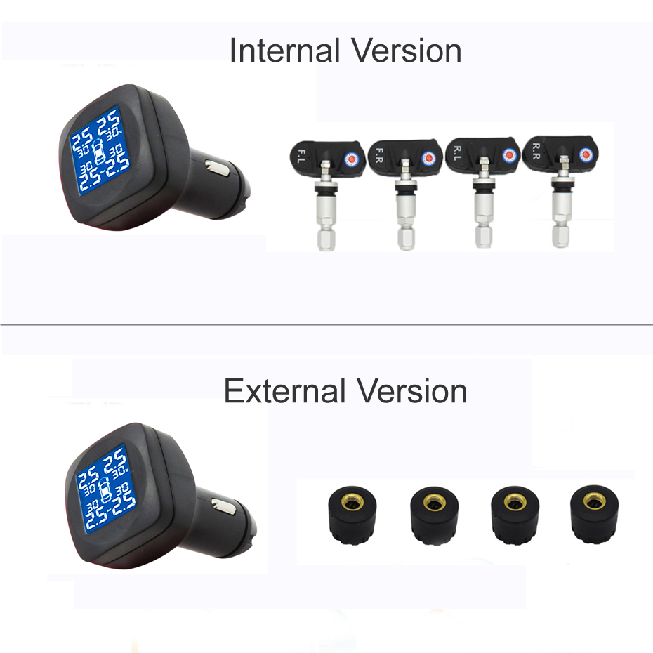 Image 2 - Visture TPMS Car Tire Pressure Alarm Monitor System 4 External Internal Sensor Auto Tyre Cigarette Monitoring New T05W T05N-in Tire Pressure Alarm from Automobiles & Motorcycles