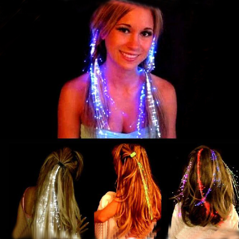 Quadruple 1pcs Colorful LED Hair Braid Clip Hairpin LED Flash Light Glow Toys Christmas Party Dance Night Lighting Supplies