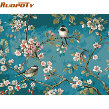 RUOPOTY Birds And Flower DIY Painting By Numbers Kits Drawing On Canvas Home Wall Art Decor Handpainted Painting For Artwork