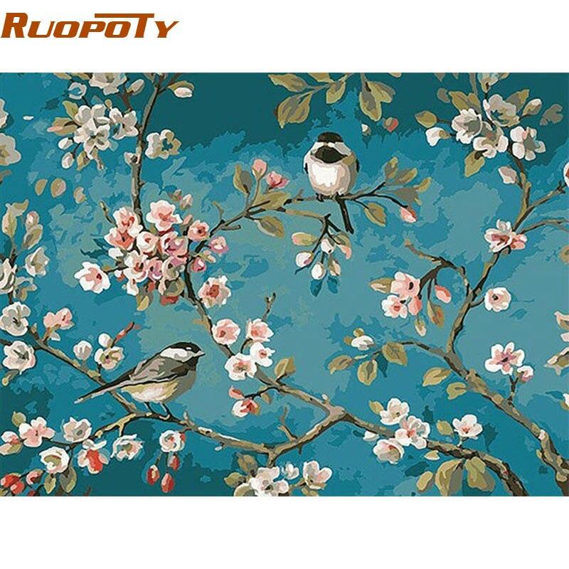 RUOPOTY pájaros y flor DIY pintura por números Kits dibujo sobre lienzo casa pared arte decoración pintura pintada a mano para las ilustraciones