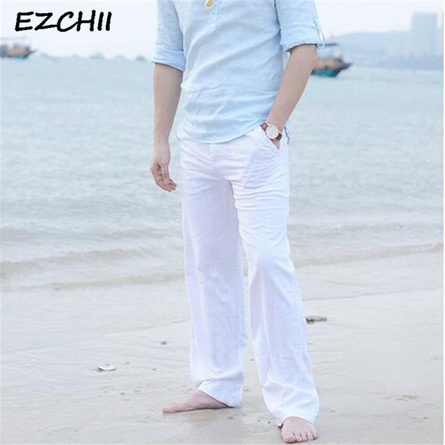 0acc90340d30 New High quality Men s Summer Casual Pants Natural Cotton Linen Trousers  White Linen Elastic Waist Straight Man s Pants