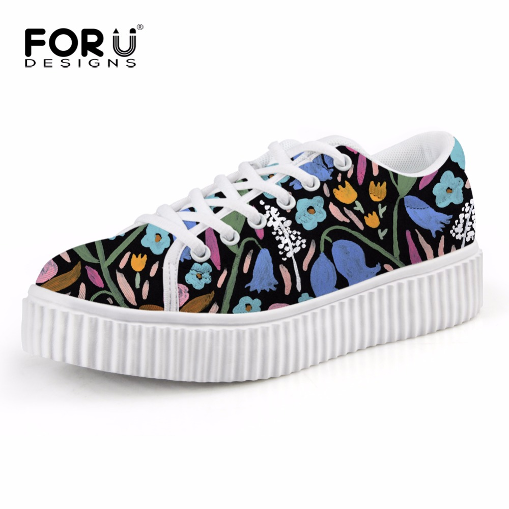 ФОТО FORUDESIGNS 2017 New Women Flat Shoes Fashion Hand Painting Pattern Female Lace-up Platform Shoes Casual Female Creepers Flats