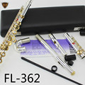 MARGEWATE Silver Plated Flute FL-362 Small Elbow Head 16 Key Holes Open Silver Body Gold Keys C Tune Flute Instrument Flauta