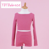 Girls Bamboo Fiber Ballet Set Including Top And Shorts Kids Warm Up Dance Knitwear dance sweater 36002+35008