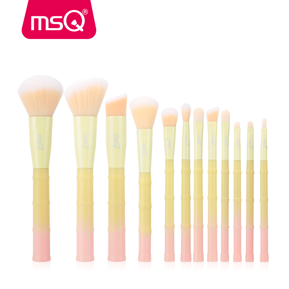 MSQ 12pcs Makeup Brushes Set pincel maquiagem Powder Foundation Eyeshadow Make Up Brushes Bamboo Plastic Handle Synthetic Hair zoreya 22pcs makeup brushes professional make up brushes set powder eyebrow foundation blush cosmetic kits pincel maquiagem