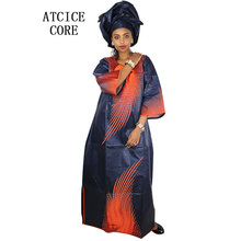 African bazin riche embroidery design long dress with scarf