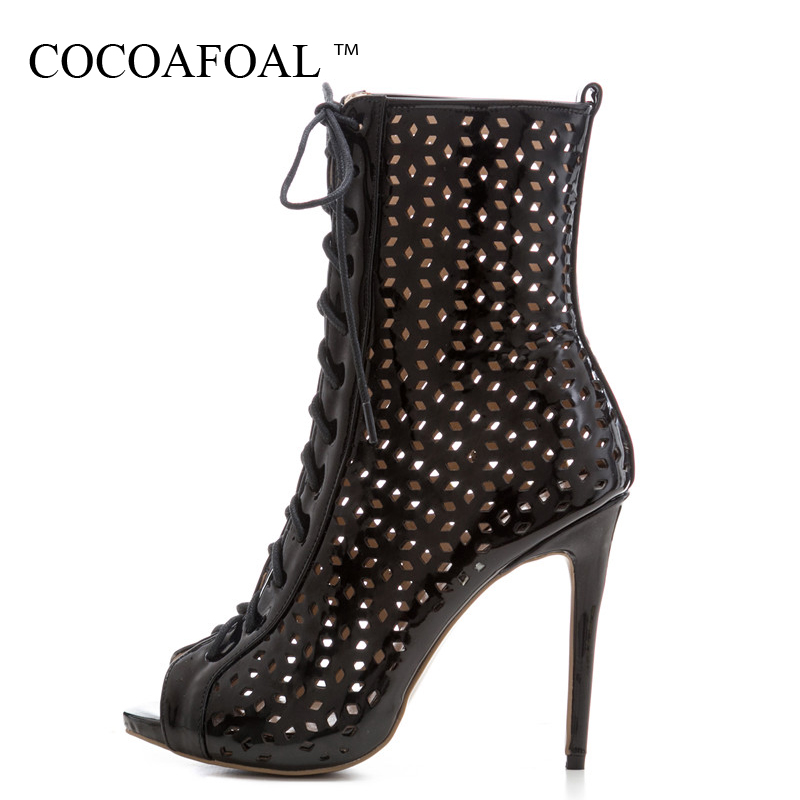 COCOAFOAL Women Hollow Out Peep Toe Ankle Boots Plus Size 33 43 Open Toe Heels Sandals Summer Lace Up Gladiator Sandals White women platform sandals plus size 45 gladiator woman open toe shoes summer style hollow out weave ladies casual black sandals