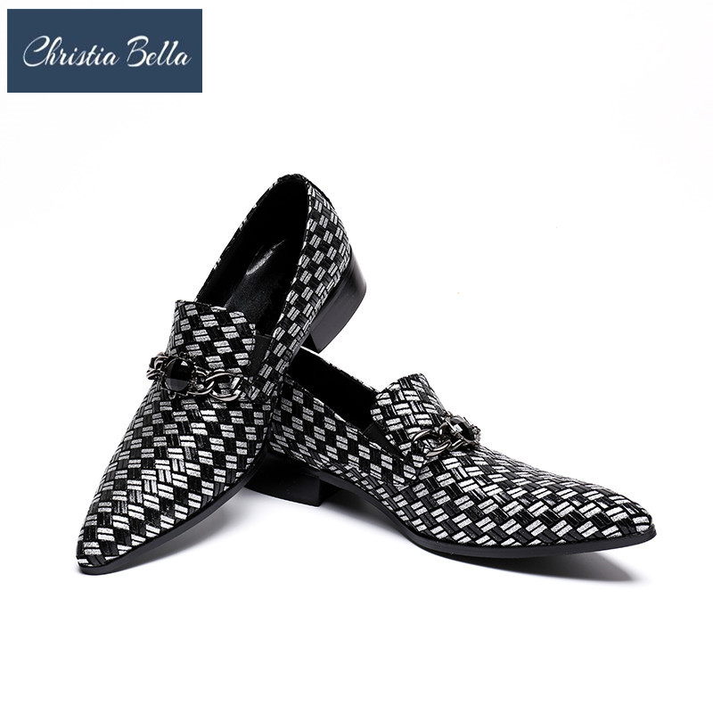 Christia Bella Luxury Pointed Toe Men Dress Shoes Chains Wedding Business Shoes Italian Fashion Genuine Leather Loafers SlippersChristia Bella Luxury Pointed Toe Men Dress Shoes Chains Wedding Business Shoes Italian Fashion Genuine Leather Loafers Slippers