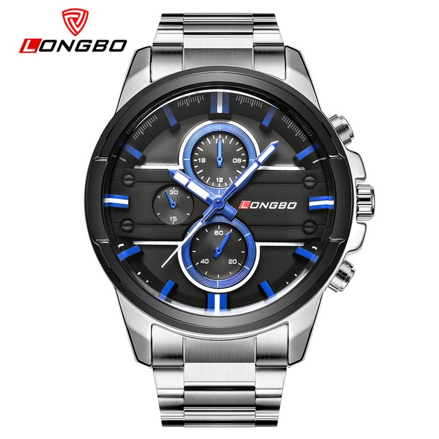 LONGBO Military Men Stainless Steel Band Sports Quartz Watches Dial Clock Men Dynamic Dial Male Quartz Watch Relogio Masculino