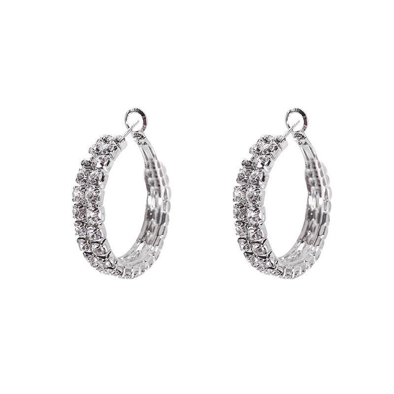 Silver needlecircle earrings fashion personality retro rhinestone small hoop earrings 925 hoop earrings for women in Hoop Earrings from Jewelry Accessories