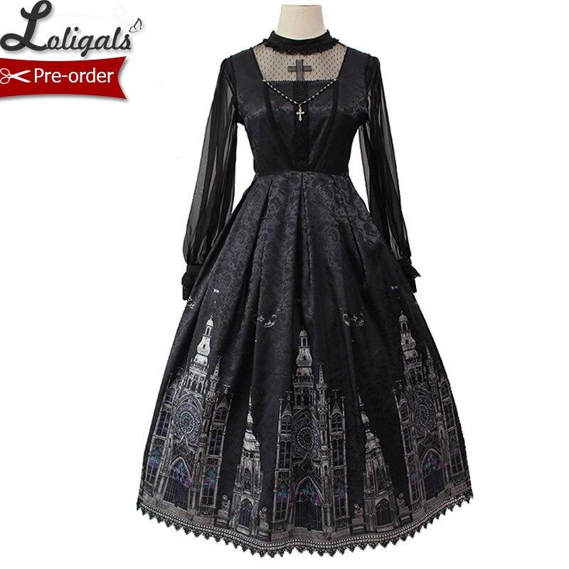 Gothique Lolita JSK Robe Église Imprimé Sans Manches Midi tenue de fête par Alice Fille Pré-commande