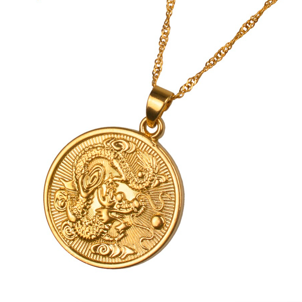 Dragon Pattern Round Pendant Chain Yellow Gold Filled Womens Mens Pendant Necklace Gift Pendants Aliexpress