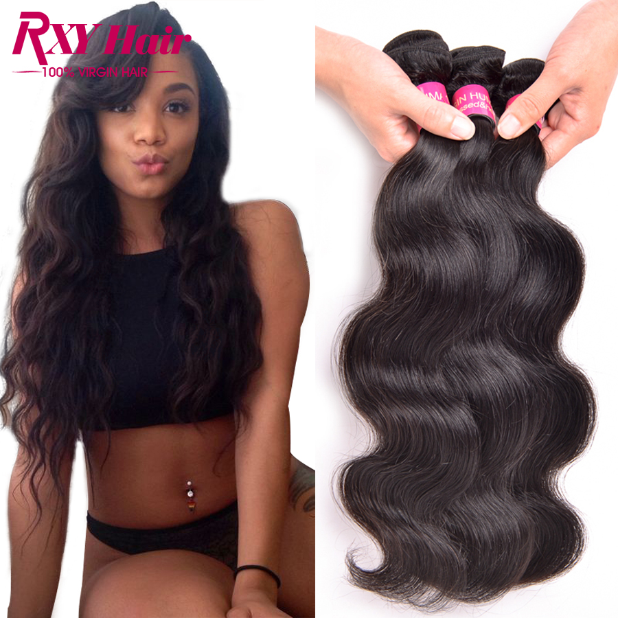 [ Rxy Hair ] 8A Indian Virgin Hair Body Wave 3 Bundles Raw Indian Hair Body Wave 8-28 Remy Virgin Indian Hair Wet And Wavy