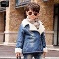 Novo 2016 Meninos Meninas Casacos de Bebê Jaqueta de Camurça Moda Crianças Jaqueta de Inverno Cordeiros Quentes Lã Casuais Casacos das Crianças Dos Miúdos Outerwear