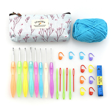 26pcs/set Colorful Crochet Hooks Set Yarn Knitting Tape Measure Needle For Women DIY Sewing Tools Accessories With Bag