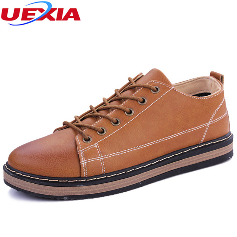UEXIA Handmade Men Shoes Casual Solid Lace-up Retro Round Toe Microfiber Leather Flats Shoes Mens Footwear High-top High Quality hot sale mens dress shoes top quality spring autumn new men casual shoes beautiful round toe lace up flats creepers brogue shoes