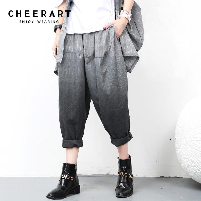 Cheerart Cotton Linen Fashion Harem Pants Trousers Women Striped Summer Loose Sweatpants Women Sweat Pants