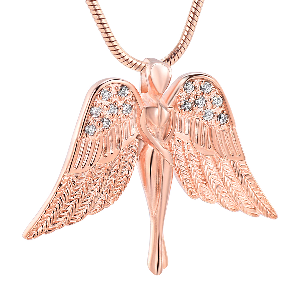 IJD10083 Stainless Steel Cremation with Angel Lady Charm Memorial Pendant Necklace for Ashes Urn for Women Girls Jewelry Chain Necklaces    - AliExpress