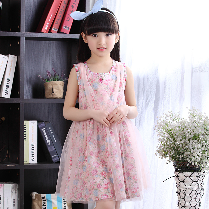 ФОТО floral girls dresses summer 2016 brand children clothing kids dresses for young girls baby dresses cute summer dresses for girls