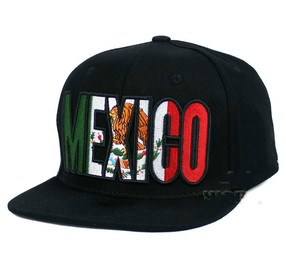 MEXICAN hat MEXICO Flag hat Printed Snapback Flat bill   Baseball     cap  - Black