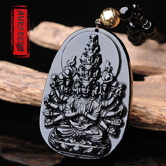 Thousands Hands Guanyin Obsidian Pendant