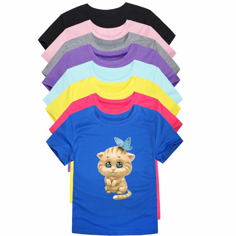 T-shirts Sommer Kleinkind Kinder Tees Cartoon Baumwolle Baby Jungen Mädchen T-shirts Kurzarm Casual Katze Muster Kinder Kleidung Tops T-shirt