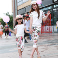 Spring Autumn Family Clothes Mother&daughter Clothing Sets Family Fitted T-shirt + Shorts Set Fashion Clothing roupas infantis
