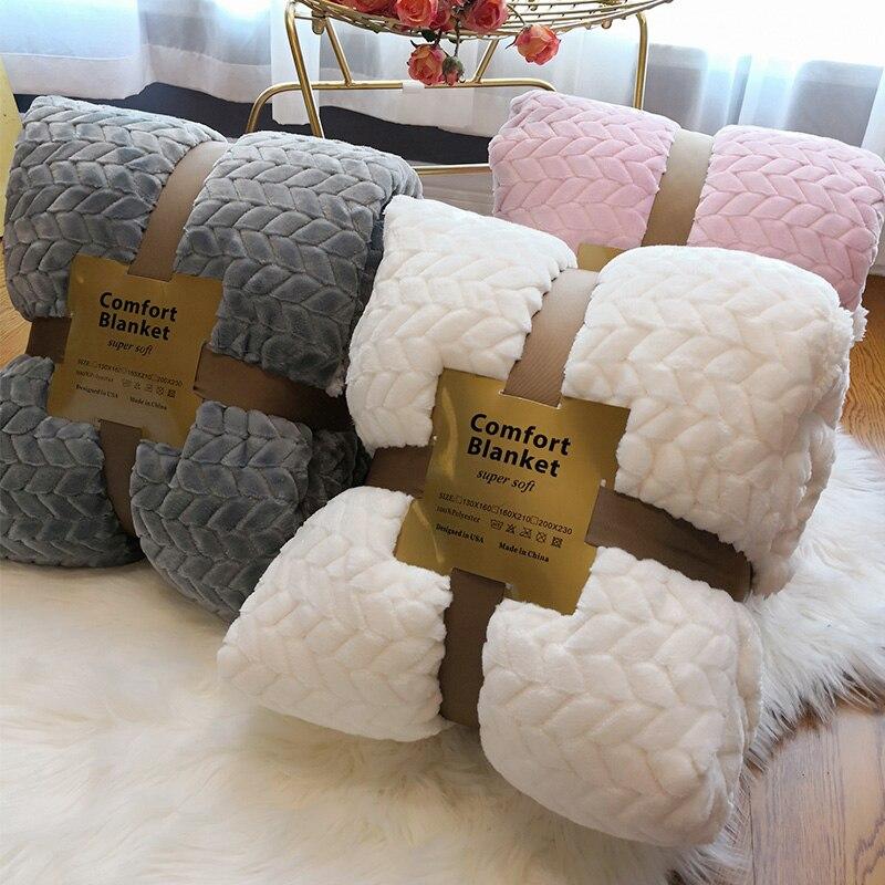Hiver Double couche couverture épaisse furet cachemire Super doux chaud laine couvertures flanelle polaire Plaid jeter sur canapé-lit blanc ba