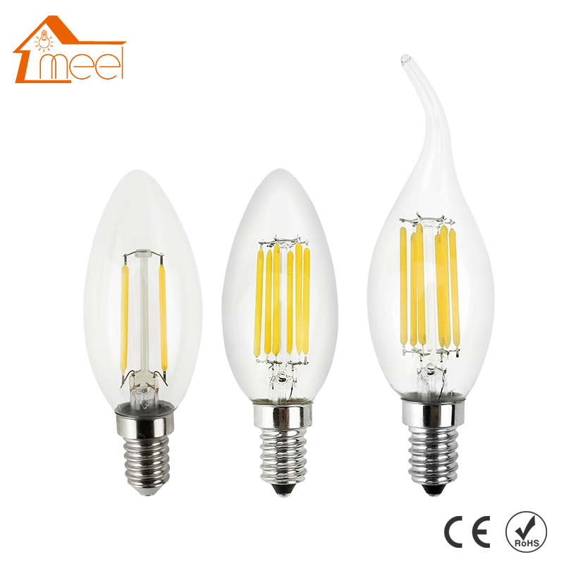 Dimmable LED Filament Candle Light Bulb E14 220V 240V 2W 4W 6W C35/C35L Vintage Edison Bulb for Chandelier Cold/Warm White 5pcs g9 4w 320lm led candle bulb for chandelier